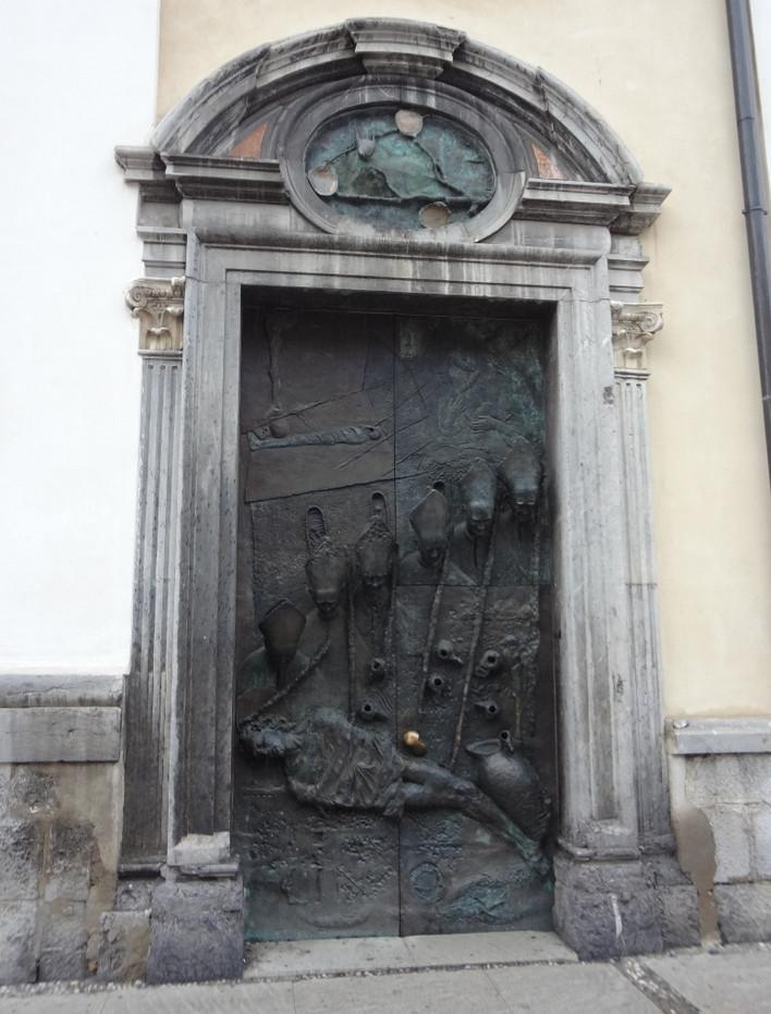 Bronasta ljubljanska vrata. Stranska vrata stolnice sv. Nikolaja